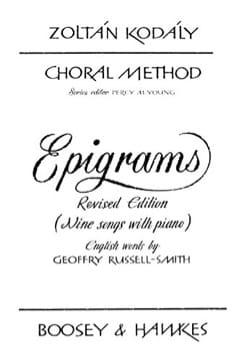 Choral Method Vol 13/1. Epigrams KODALY Partition Chœur - laflutedepan