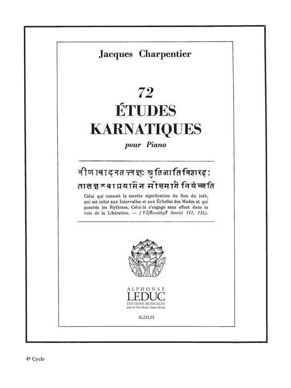 72 Etudes Karnatiques 4° Cycle - CHARPENTIER - laflutedepan.com