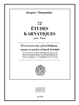 72 Etudes Karnatiques. 9° Cycle CHARPENTIER Partition laflutedepan