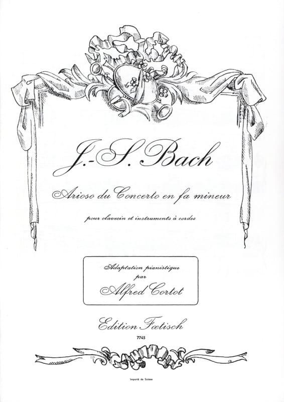 Arioso Du Concerto En Fa Mineur BWV 1056 - BACH - laflutedepan.com