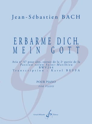 Erbarme Dich, Mein Gott BACH / BEFFA Partition Piano - laflutedepan