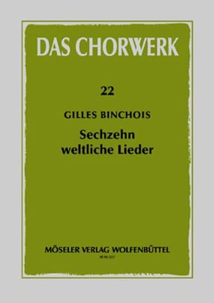16 Weltliche Lieder Gilles Binchois Partition Chœur - laflutedepan