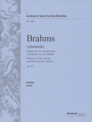 Liebeslieder Walzer Opus 52 BRAHMS Partition Chœur - laflutedepan