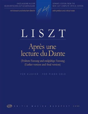 Après une lecture de Dante LISZT Partition Piano - laflutedepan