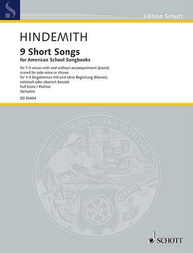 9 Short Songs - HINDEMITH - Partition - Chœur - laflutedepan.com