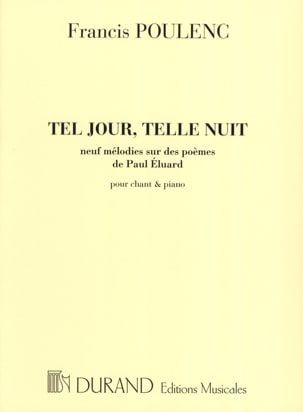 Tel Jour, Telle Nuit POULENC Partition Mélodies - laflutedepan