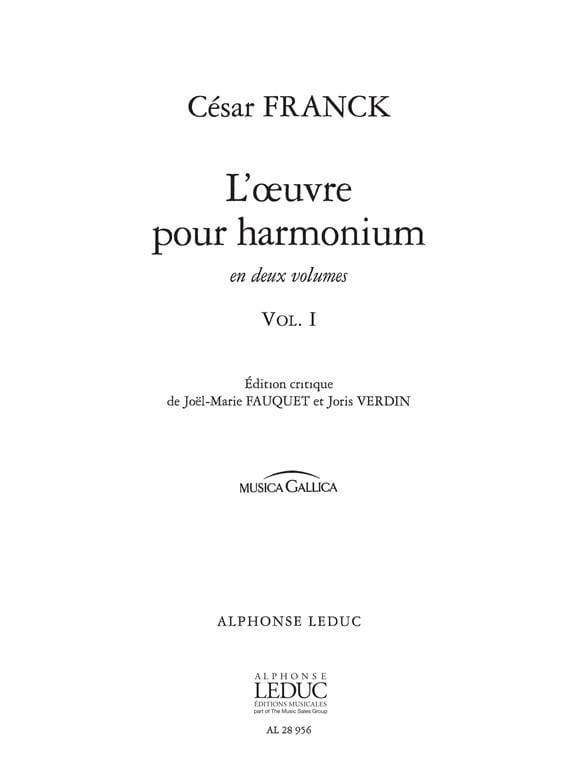 Oeuvre Pour Harmonium Volume 1 - FRANCK - Partition - laflutedepan.com