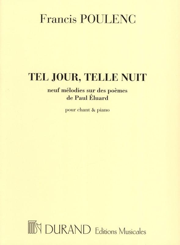 Tel Jour, Telle Nuit - POULENC - Partition - laflutedepan.com