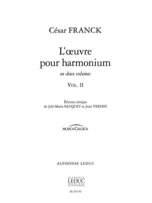 Oeuvre Pour Harmonium Volume 2 FRANCK Partition Orgue - laflutedepan