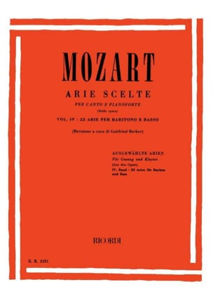22 Arie Scelte Baryton Volume 4 MOZART Partition Opéras - laflutedepan