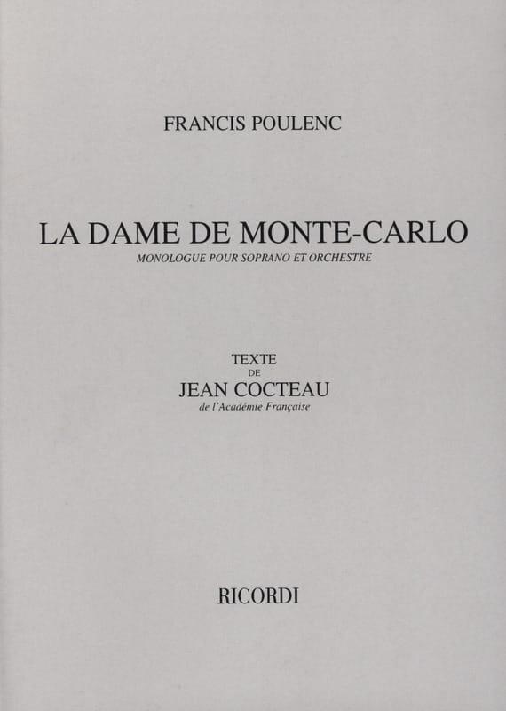 La Dame de Monte-Carlo - POULENC - Partition - laflutedepan.com