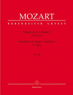 Sonate K 545 Facile MOZART Partition Piano - laflutedepan