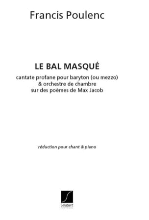 Le Bal Masqué POULENC Partition Mélodies - laflutedepan