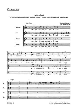 Magnificat C-Dur. Conducteur CALDARA Partition Chœur - laflutedepan