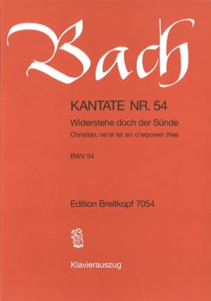 BACH - Cantate 54 Widerstehe Doch Der Sünde - Partition - di-arezzo.co.uk