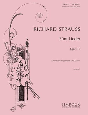 5 Lieder Opus 15. Voix Moyenne Richard Strauss Partition laflutedepan