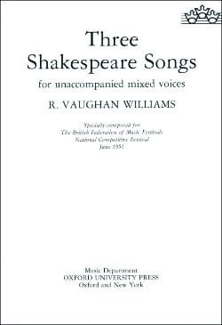 3 Shakespeare Songs WILLIAMS VAUGHAN Partition Chœur - laflutedepan