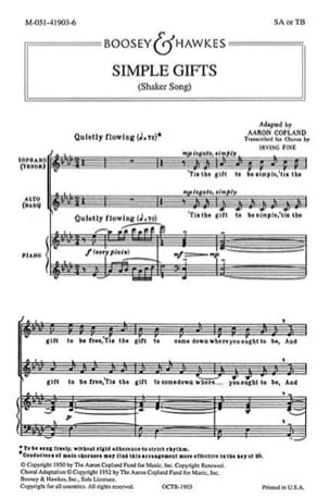 Simple Gifts COPLAND Partition Chœur - laflutedepan