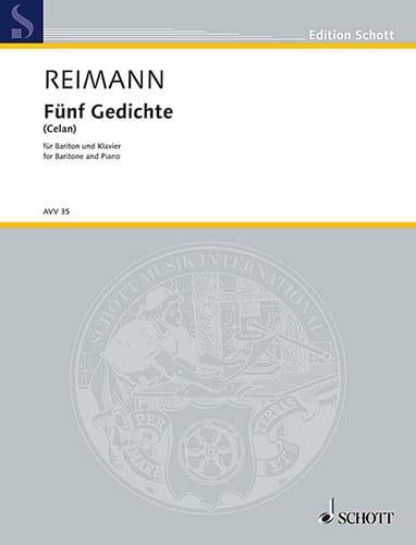 5 Gedichte - Aribert Reimann - Partition - Mélodies - laflutedepan.com