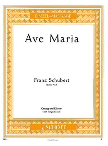 Ave Maria. Opus 52-6. Voix Haute - SCHUBERT - laflutedepan.com