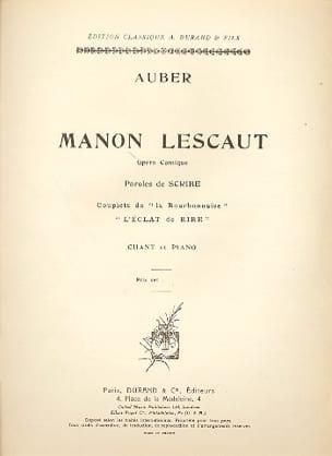 L' Eclat de Rire. Manon Lescaut Daniel Auber Partition laflutedepan