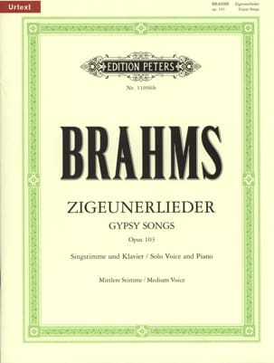 8 Zigeunerlieder Opus 103. Voix Moyenne BRAHMS Partition laflutedepan