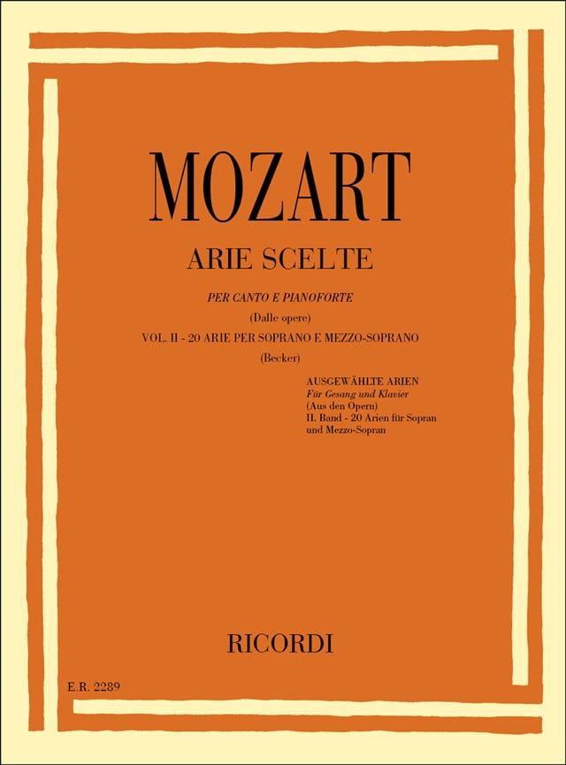 Arie Scelte Soprano Et Mezzo Volume 2 - MOZART - laflutedepan.com
