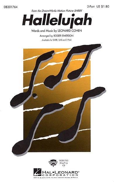 Hallelujah - Leonard Cohen - Partition - Chœur - laflutedepan.com