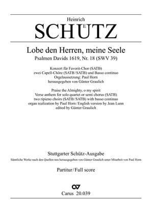 Lobe Den Herren, Meine Seele Swv 39 - SCHUTZ - laflutedepan.com