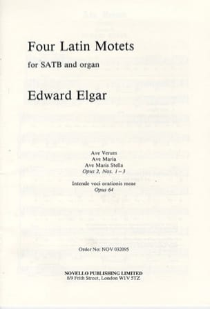 ELGAR - 4 Latin Motets Opus 2 and 64 - Partition - di-arezzo.com