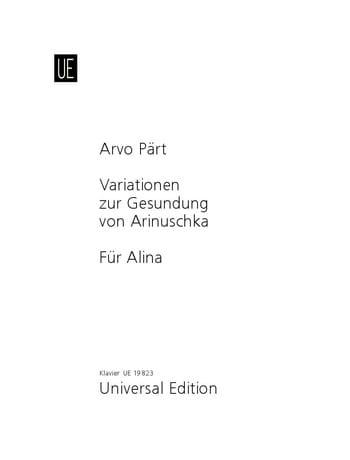 Variationen Zur Gesundung Von Arinuschka / Für Alina - laflutedepan.com