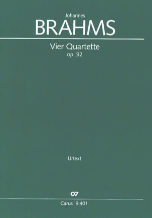 Johannes Brahms - 4 Quartet Opus 92 - Partition - di-arezzo.com