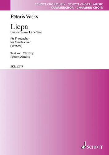 Liepa - Peteris Vasks - Partition - Chœur - laflutedepan.com