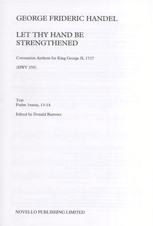 Let Thy Hand Be Strengthened HWV 259 HAENDEL Partition laflutedepan