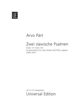 2 Slavische Psalmen. - PÄRT - Partition - Chœur - laflutedepan.com