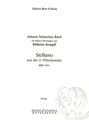 BACH / KEMPFF - Sicilian Sonata For Flute N ° 2 - Partition - di-arezzo.co.uk