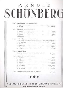 Waldsonne Opus 2-4 SCHOENBERG Partition Mélodies - laflutedepan