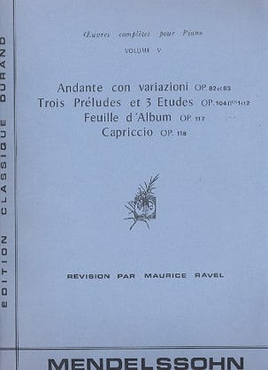 Oeuvres pour piano Volume 5 MENDELSSOHN Partition Piano - laflutedepan