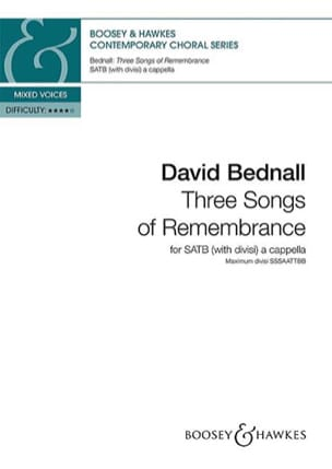 3 songs of remembrance David Bednall Partition Chœur - laflutedepan