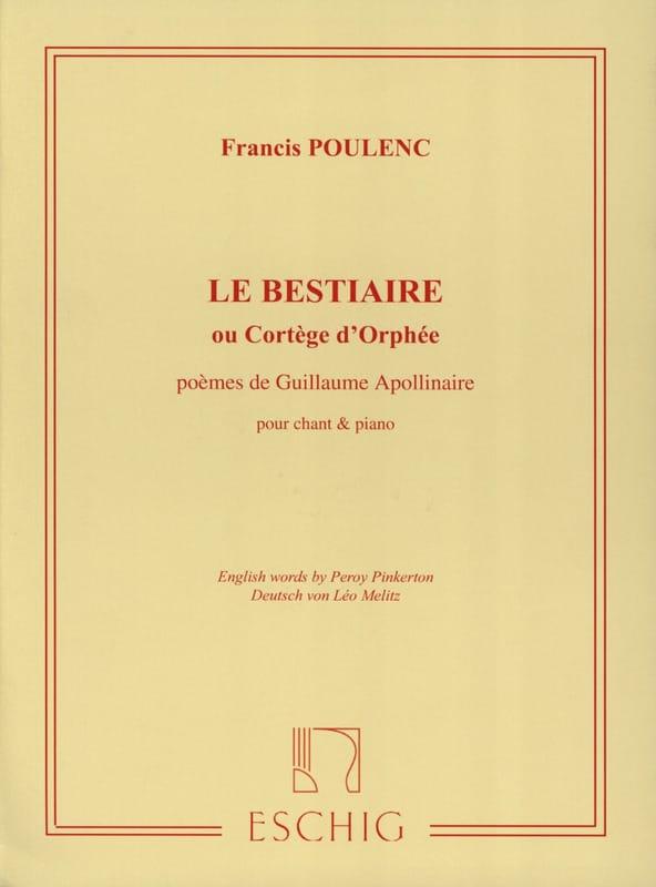 Le Bestiaire - POULENC - Partition - Mélodies - laflutedepan.com