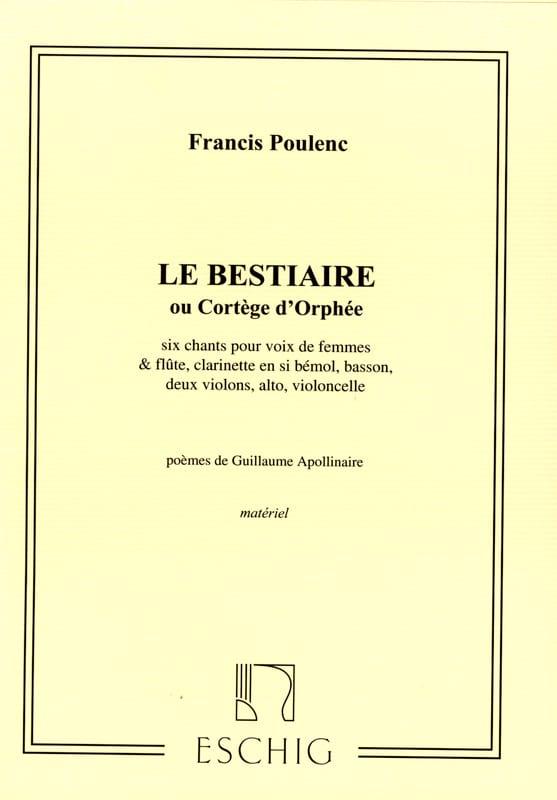 Le Bestiaire. Matériel - POULENC - Partition - laflutedepan.com