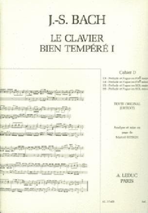 Le Clavier Bien Tempéré - Livre 1 Cahier D - laflutedepan.com