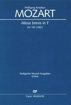 Missa brevis in F KV 192 MOZART Partition Chœur - laflutedepan