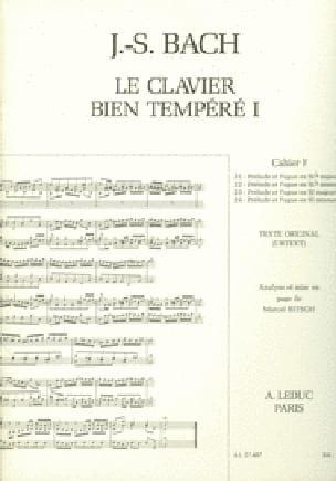 Le Clavier Bien Tempéré - Livre 1 Cahier F - laflutedepan.com