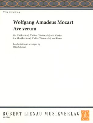 Ave Verum KV 618 Voix Moyenne MOZART Partition Violon - laflutedepan