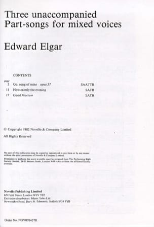 ELGAR - 3 Unaccompanied Part-song for mixed voices - Partition - di-arezzo.com