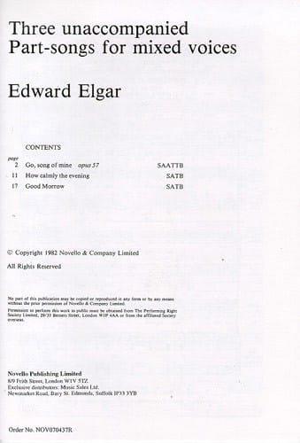 3 Unaccompanied Part-song for mixed voices - ELGAR - laflutedepan.com