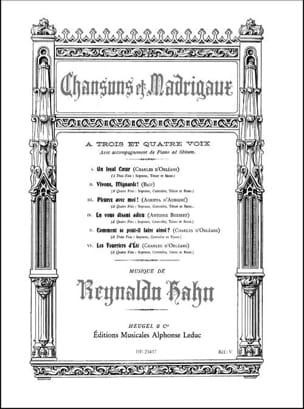 Chansons et madrigaux Reynaldo Hahn Partition Chœur - laflutedepan