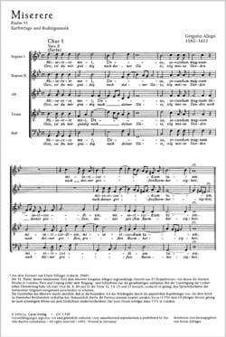 Miserere Gregorio Allegri Partition Chœur - laflutedepan