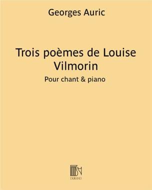 3 Poèmes de Vilmorin Georges Auric Partition Mélodies - laflutedepan